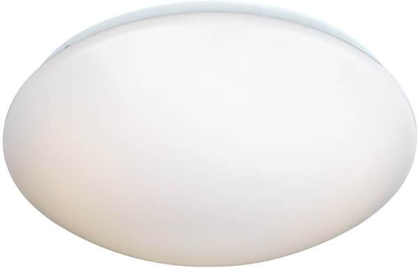 Vit och diskret taklampa som kan användas i badrum.