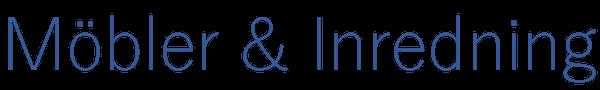 Möbler och Inredning i blå text.